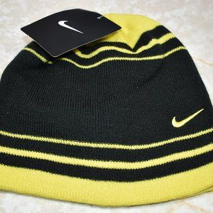 Youth Nike Black & Yellow Swoosh Knit Beanie Hat